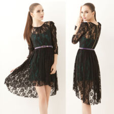 Womens Twinset See-through Lace Pullover Camisole Asymmetric Hemline Dress 6126
