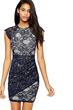 Ex Lipsy Blue Lace Scalloped Floral Printed Bodycon Dress Size 6 8 10 12 14 16