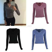 Women Sweater V-neck Jumper Long Sleeve Knitwear Cardigan Coat Jacket Casual Top