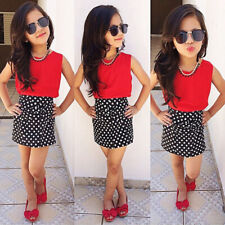 Two-pieces Chiffon Tops Bow Polka Dot Skirt Clothes Girls Baby Kids Outfits Sets