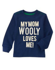 NWT CRAZY 8 ACTIVE HOLIDAY PARTY Navy MOM WOOLY LOVES ME Thermal Top T-Shirt