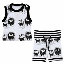 2PCS Newborn Toddler Infant Baby Boys Girls Outfits Clothes Vest Tops+Shorts Set