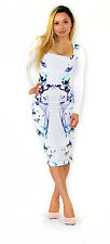 New Ladies ASOS Smokey Floral Bodycon Dress Size 8-14 White Midi Jersey