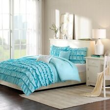 Girls Teal Blue Reversible Flowing Ruffles Comforter Set with Decorative Pillows