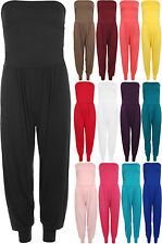 New Womens Ruched Strapless Bandeau Boobtube Ladies Harem Pants Jumpsuit