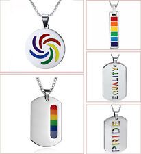 Stainless Steel Rainbow Pride Dog Tag Pendant Chain Necklace Gay LGBT Jewelry