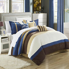 Cathy Microsuede Blue, Brown, Ivory 7 Piece Comforter Bed In A Bag Set