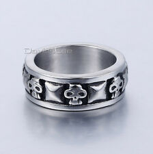 MEN'S BAND RING STEEL SKULL TATTOO HEAD PYRAMID COMBINATION 316L STAINlESS STEEL
