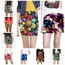 Women Sexy Pleated Seamless Stretch Tight Bodycon Mini Skirt Floral Pencil Dress