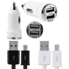 1A/2A Dual USB Car Charger + Micro Data Cable fits HTC One A9 M9 M8 M7 Desire