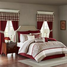 24pc Red & Taupe Complete Bedroom in a Bag w/Comforter, Curtains, Sheets & Etc