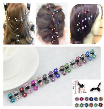 12 Pcs Crystal Flower Mini Hair Claw Clamp Hair Clip Hair Pins Hair Accessory CA