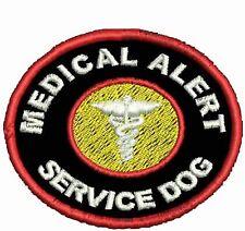 Medical Alert Service Dog Patch Round Vest Patch Working Dog Black White Red