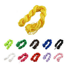 5X(Nylon Cord Thread Chinese Knot Macrame Rattail Bracelet Braided String  HY