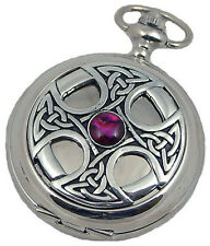 MENS JEWEL FRONT PEWTER COVER POCKET WATCH A E Williams Quartz Silver Hunter NEW