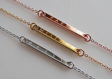 Engraved Rose Gold Silver Gold Name Plate Initial Bar Charm Custom Necklace Gift