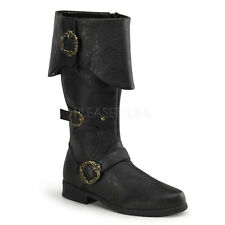 Mens Caribbean Pirate Black Halloween Boots