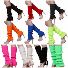10X(Women Solid Color Knitted Foot less Leg Warmers HY