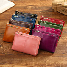 Women's Oil Wax Soft Genuine Leather Ladies Short Wallet Card Holder Case Purse