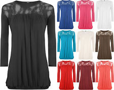 New Ladies Lace Round Neck Evening Top Womens Pleated 3/4 Sleeve Plus Size