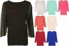 New Womens Plus Size Chiffon Sheer Lined Long Open Sleeve Ladies Party Top