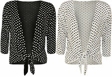 New Womens Plus Size Polka Dot Spot Tie Up Ladies Print Shrug Top Cardigan