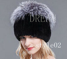 Denmark Genuine Real Silver Fox+Rex-Rabbit Fur Women Hat/Scarf/Shawl Gray Black