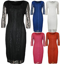 New Plus Size Womens Lace Floral Lined Ladies 3/4 Sleeve Knee Length Dress