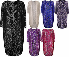 New Plus Size Womens Floral Lace Short Sleeve Open Ladies Long Cardigan