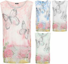 Womens Plus Mesh Layered Top Ladies Butterfly Print Lined Sleeveless Vest