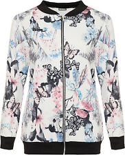 Womens Plus Butterfly Bomber Jacket Ladies Print Long Sleeve Zip Up Stretch