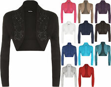 New Plus Size Womens Beaded Long Sleeve Ladies Shrug Bolero Cardigan Top
