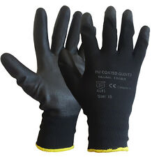 24 PAIRS PU COATED BLACK SAFETY WORK GLOVES GARDEN MENS BUILDERS
