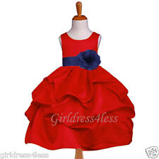 RED NAVY BLUE HOLIDAY PICK UP WEDDING FLOWER GIRL DRESS 6M 12M 18M 2 4 6 8 10 12