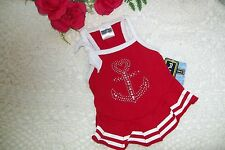 RED ANCHOR Dress XS XSm Pup Crew  puppy dog pet clothes nautical sailor boating