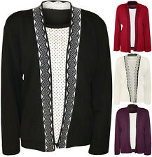 New Womens Plus Size Spot Polka Dot Insert Long Sleeve Ladies Cardigan