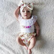 3PCS Baby Girls Lace Floral Top T-shirt +Shorts Pant Headband Outfit Set Clothes