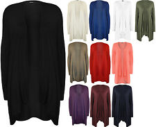 New Plus Size Womens Plain Long Sleeve Open Top Ladies Waterfall Cardigan
