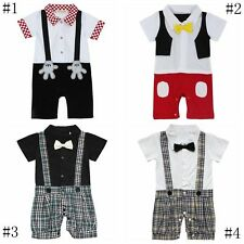 Baby Boys One Piece Tuxedo Bow Tie Formal Suits Gentleman Romper Jumpsuit Outfit