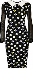 New Womens Plus Daisy Floral Print Collar Ladies Long Chiffon Sleeve Dress