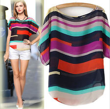 Fashion Women Short Sleeve Loose Plus Casual Tops Chiffon T-Shirt Blouses S-XXXL