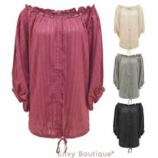 WOMENS LADIES VINTAGE OFF SHOULDER BAGGY LONG SLEEVE CHIFFON TOP BLOUSE SHIRT