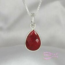 Genuine Ruby Teardrop Pendant in SOLID 925 Sterling Silver