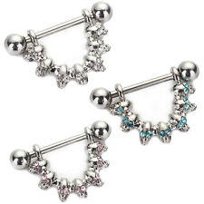 Stainless Steel Nipple Shield Ring Crystal Skull Barbell Body Piercing Jewelry !