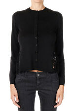VALENTINO New Woman Black Lace Cashmere Virgin Wool Cardigan Made in Italy