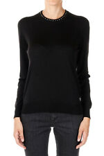 GUCCI New Woman Black Wool Details Jumper Sweater Tee Made in Italy