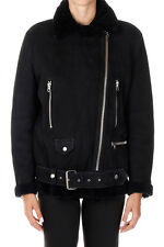 ACNE STUDIOS New women Dark Blue Lamb leather Shearling Jacket with Belt AUTHENT