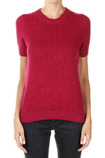 GUCCI New Woman Fuxia Short Sleeve Sweater jumper wool Cashmere made Italy NWT