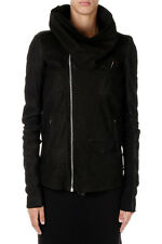 RICK OWENS New women Black Lamb Leather COWLED STOOGES Lined Cashmere