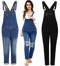 Womens Buttoned Pocket Detail Mid Wash Denim Jeans Dungaree Trousers UK 8-20